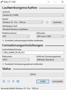 Rufus UEFI Bootable USB